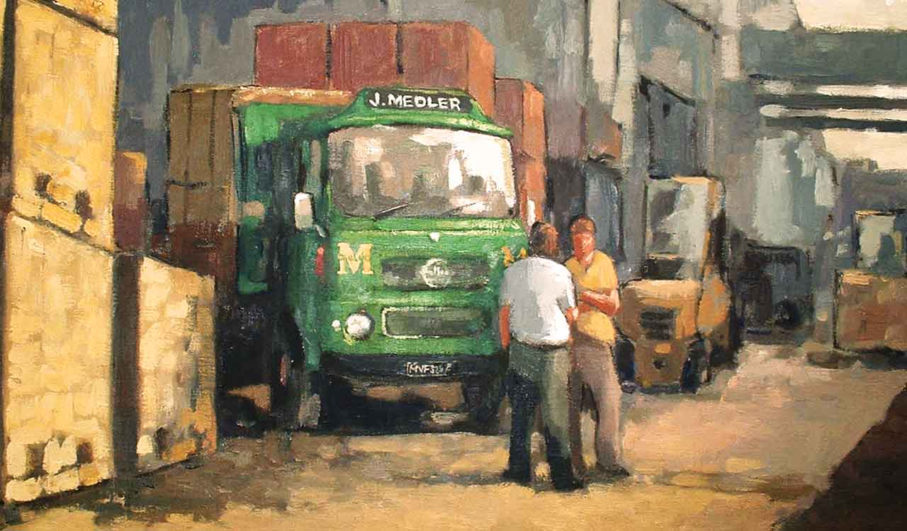Hostoric oil painting of 2 men in front of a delivery truck