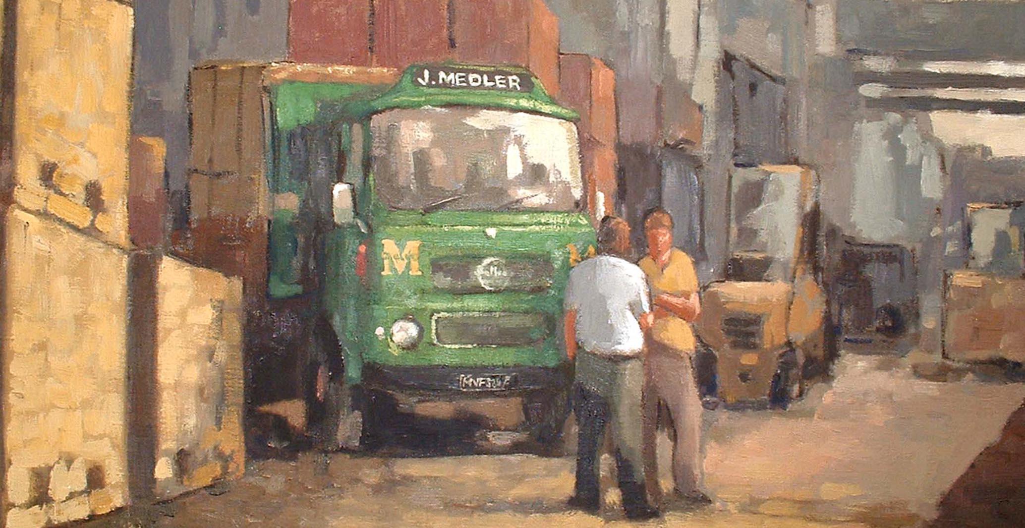 Oil painting of 2 Men stood in Medlers Builders Yard