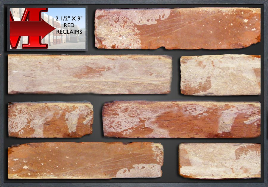"""2 1/2 X 9"""" Red Reclaims - Showroom Panel"""""""